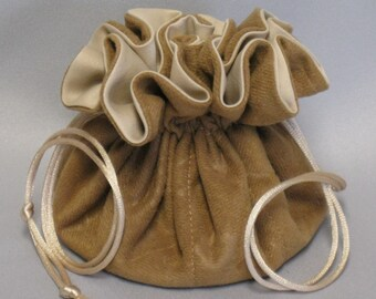 Jewelry Travel Tote---Drawstring Organizer Pouch---Tan Floral Soft Suedecloth ----Medium Size