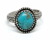 Custom Turquoise Ring - Blue-green - Sterling Silver Gemstone Ring - Turquoise Jewelry - Lucky Boho Gypsy Ring for women