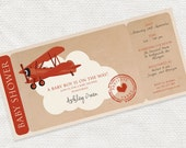 precious cargo baby shower boarding pass invitation - printable file - airline ticket invite, plane airplane party, biplane, birthday invite