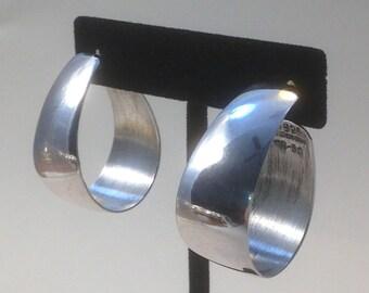 Vintage 90's Sterling Silver HOOPS / SILVER Hoop Post Earrings / Bold Boho Beauties