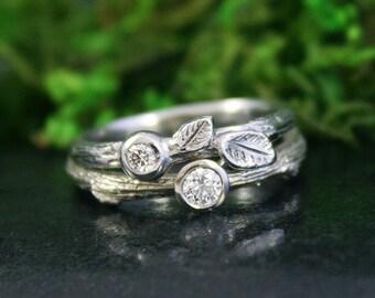 Twig Wedding Ring Set, White Gold Branch Rings, Diamond Leaf Ring Set, Engagement Ring
