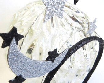 Silver and Black Glitter Moon and Star Headdress, Headband, Tiara, Party Hat
