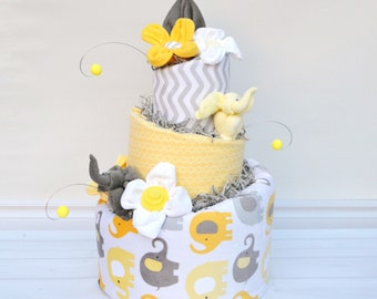 Neutral Elephant Shower, Yellow And Grey Baby Shower, Grey Elephant Shower  Decor, Elephant