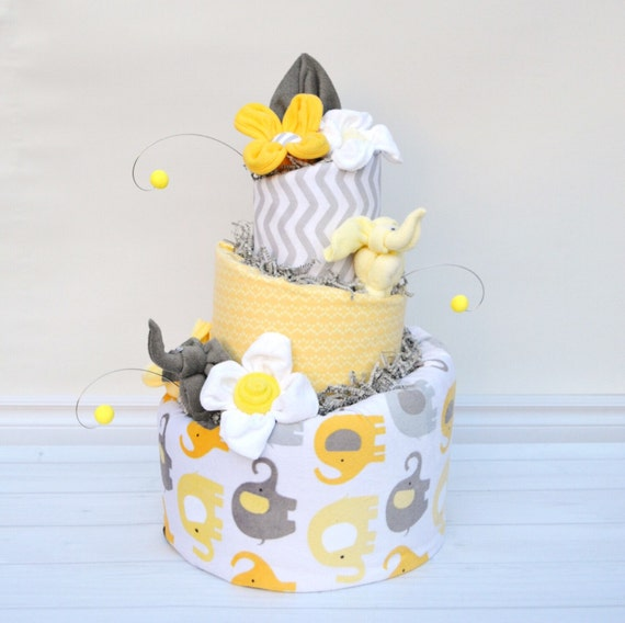 Neutral Elephant Shower, Yellow and Grey Baby Shower, Grey Elephant Shower Decor, Elephant Baby Shower Centerpiece, Yellow Grey Diaper Cake