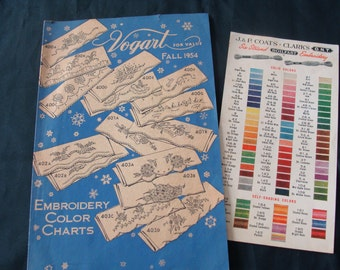 I Can Make That .... Fall 1954 Vogart Pattern Instruction and Product Catalog ~ Coats & Clark's Embroidery Thread Color Chart
