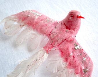 Vintage Spun Cotton Bird - Large Pink Glittered