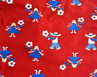 Vintage Fabric - Children and Scandinavian Flowers on Red - By the Yard