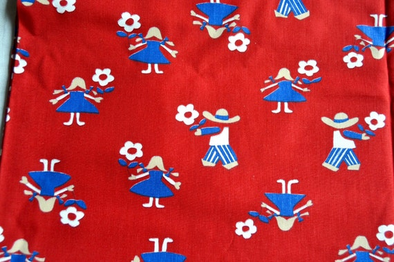 Vintage fabric scandinavian children and flowers on red for Vintage childrens fabric by the yard