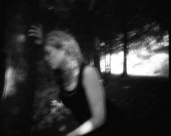 surreal portrait, dreamy blurry woman photo, conceptual, ethereal home wall decor fine art, girl dark art haunting ghost forest photography