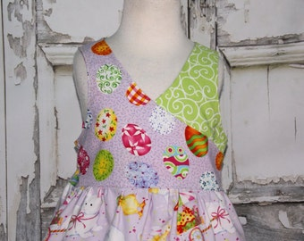 Easter Bunny Chicks Eggs Wrap Dress Ready to Ship Size 4T 5 Readymade Rabbit Hop Easter Egg Hunt Spring