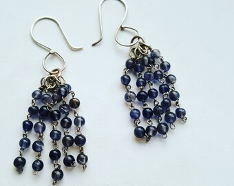 Handmade Iolite and Sterling Silver Dangle Earrings