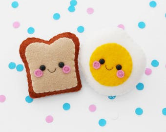 Toast and Egg Felt Brooches, Cute Pin Accessories