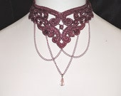 Dusty Rose Pink Necklace Venise Victorian Choker Draping Pink Chain Intracate Lace Victorian Style Choker Collar by Medievaltomodern