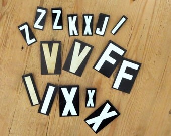 15 Bargain vintage letters Black and White Letters Capital letters Sign letter  F K I J X Z V initials Cheap letter Destash letters Alphabet