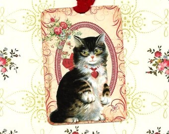 Tags, Kitten Tags, Gift Tags, Cat Lover, Party Favors, Roses