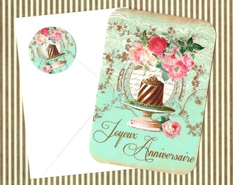Cards, Joyuex Anniversaire, French Style, Happy Anniversary, Cake, Bakery, Note Card Set, Stickers