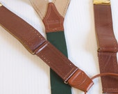 Vintage Men's Suspenders - Brown Leather button on Suspenders - Polo by Ralph Lauren