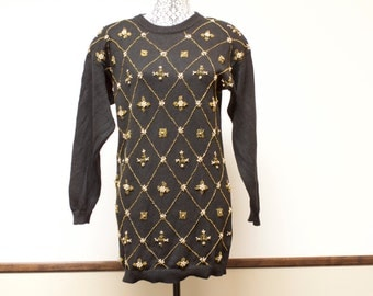 Vintage Black Women's ugly Christmas pullover sweater with gold beads by Victoria Harbour - size petite medium