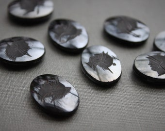 Antique Hematite Carved Intaglio Cabochon / Roman Soldier Stones / NOS Antique Jewelry Supplies