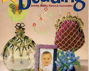 Best Book Beading Jewelry Bottles Purses and Accessories Learn How to Do Make Bead Frame Necklace Hair Accessory Craft Pattern Leaflet 3298