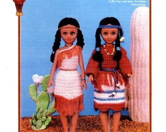 Princess Little Fawn Crochet Ethnic Dress Skirt Fringe 15 Fifteen Inch Fashion Doll Clothes Outfit Craft Pattern Leaflet Td-869