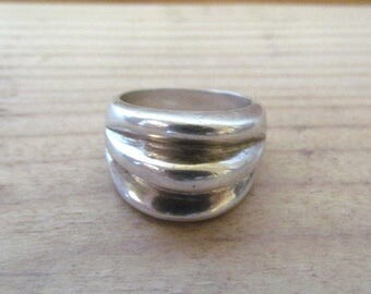 Vintage SU Mexico Sterling Silver Ribbed Ring