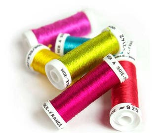 Rainbow Colors / Pure Silk Ovale Thread from French Au Ver à Soie / Embroidery Thread