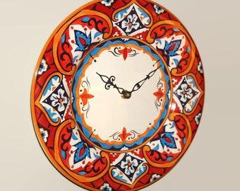 Mediterranean Tile Wall Clock in Rust Orange and Navy, 11 Inch SILENT Plate Clock, Kitchen Clock, Mediterranean Home Decor - 2353