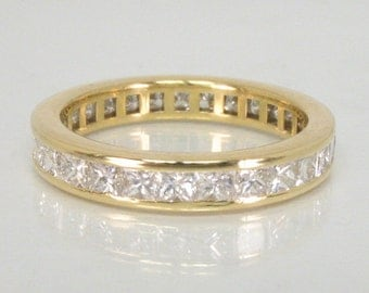 Vintage Diamond Eternity Band - Princess Cut Diamond Eternity Band – 18K Yellow Gold - 1.50 Carats Diamond Total Weight - Appraisal Included