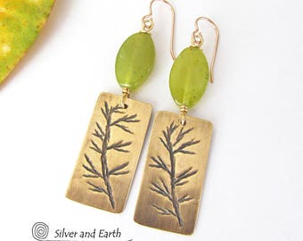 Twig Earrings, Green Jade Earrings, Brass Earrings, Gold Earrings, Nature Jewelry, Earthy Earrings, Spring Jewelry, Green Stone Earrings