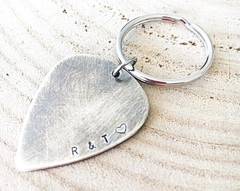 Guitar Pick Keychain - Anniversary Gift For Husband - Mens Birthday Gift - Stocking Filler - Hand Stamped Gift - Personalized For Dad