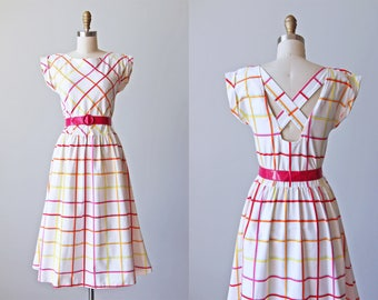 80s Dress - Vintage 1980s Dress - Citrus Berry Harlequin Stripe Cotton Sundress w Criss Cross Back S M - You Babes Dress
