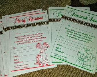 10 Vintage  Strings Attached Christmas Gift Certificates~ Risque
