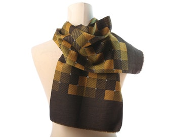 Mens Gift Silk and Wool Scarf 60s Classy Gentleman GEOMETRIC Print Double Muffler Brown Yellow Neck Shawl Men Father Boyfriend Gift