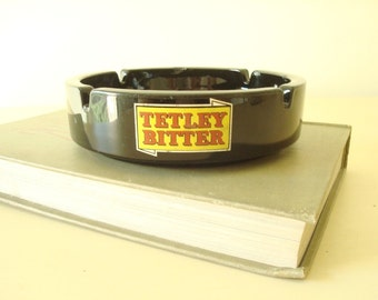 Vintage Tetley Bitter black glass ashtray, mid-century breweriana, gold & red logos, ash tray for beer lovers, man cave accessory