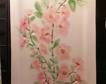 "FLOWERS that will NEVER FADE Apple Cherry Blossom Original 3D Textured Handmade Extra Large 20"" vertical home decor Wall Hanging      wf-1"
