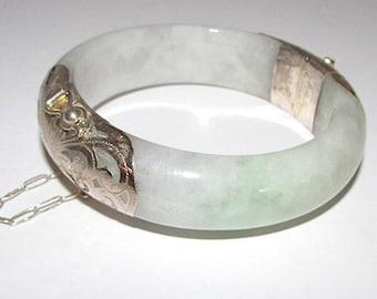 Vintage Jade Jadeite Sterling Silver Bangle Bracelet