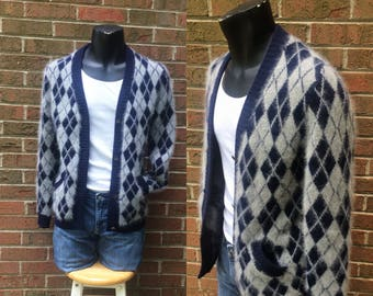 Argyle Cardigan - Navy Gray Lambswool Angora - Stanley Blacker Hong Kong - Men - Large