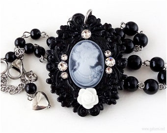 Victorian Lady Cameo Necklace, Black, White, EGL, Gothic Lolita, Cameo Jewelry