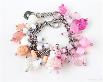 Danganronpa Monomi Charm Bracelet, Bunny Bracelet, Sweet Lolita, Gamer Girl, Pink, White, Peach