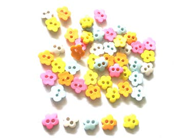 80 pcs cherry blossom flower buttons - size 10 mm