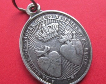Antique Sacred Hearts Of Mary And Jesus Religious Medal Silver Virgin Mary Pendant   SS515