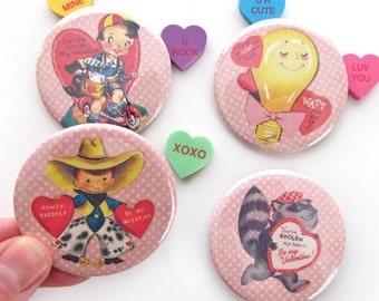 Retro Valentines Magnets - Vintage Valentine Set of Four Refrigerator Magnets - Valentines Gifts