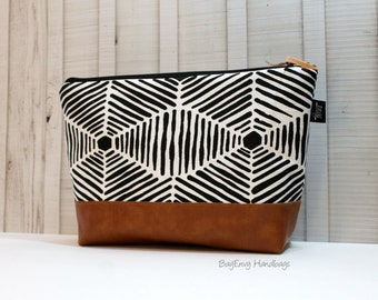 Heni Aztec In Black with Vegan Leather - Large Make Up Bag / Diaper Clutch / Bridesmaid Gift