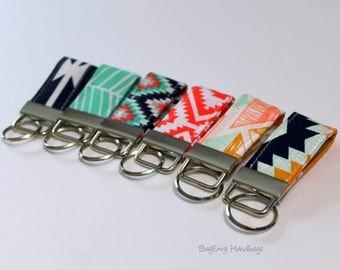 Mini Key Fob - Arrows / Herringbone / Aztec - Choose Your Fabric - Teacher / Bridesmaid Gift - SALE