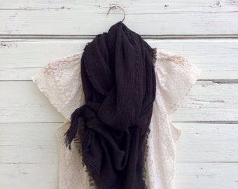 Black Cotton Scarf, Cotton Gauze Scarf, Summer Scarf, Lightweight Scarf, Cotton Summer Scarf, Gift Idea, Bridesmaid Gifts