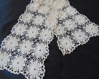 Vintage hand crochet table runner scarf dresser in ecru