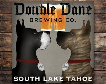 Custom PERSONALIZED Double Dane GREAT DANE Brewing Company Gallery Wrapped Stretched Canvas Signed
