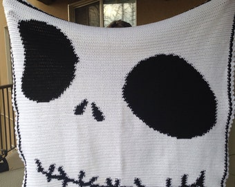 Skeleton Crocheted Blanket - Youth Size - Crib Blanket - Ready to Ship - 50 x 50 inches