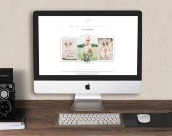 Squarespace Template for Photographers - Photography Marketing Set & Branding Kit - Wedding Magazine Template - Design By Bittersweet